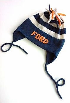 navy stripe ear flap hat