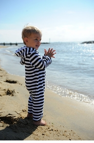 navy stripe terry beach cover up