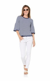 navy white striped bell sleeve sweater top