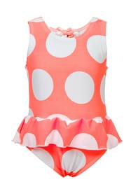 neon coral spot skirt swimsuit