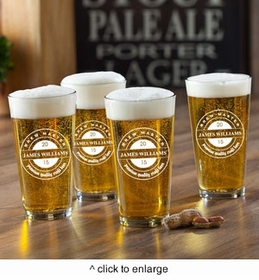 new personalized pub glass set brew master