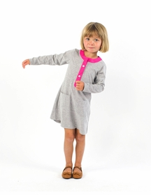 nikki shirt dress - grey knit with hot pink isis