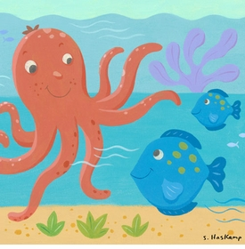 octopus & fish wall art by steve haskamp
