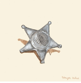 old sheriff toy badge - wall art by tonya kehoe