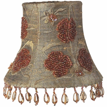 olive beaded embroidered chandelier shade