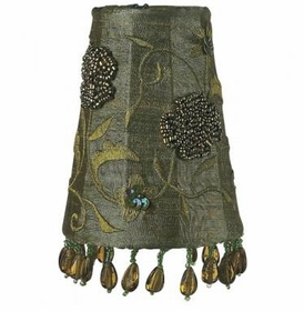 olive beaded embroidery sconce shade