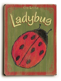 one little ladybug vintage sign