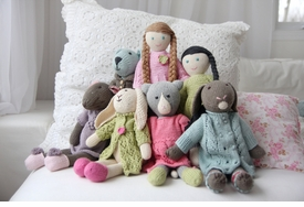 organic cotton hand knit stuffed toys