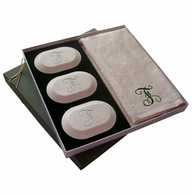 original luxury personalized soap gift set: single initial