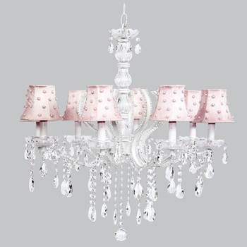 pageant chandelier pink pearl dot shades