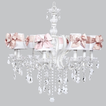 pageant chandelier - white shades/pink sashes