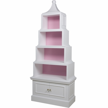 Pagoda Bookcase White And Pink