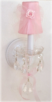 Pair crystal sconces with Pink Tulle shades