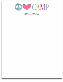 peace love camp personalized note pad
