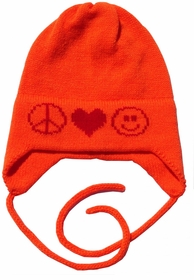 peace love smiley face hat with earflaps