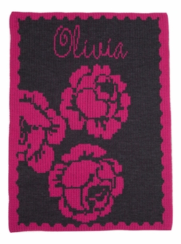 peony and name stroller blanket
