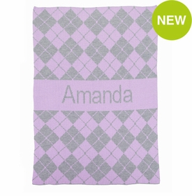 personalised argyle & name blanket
