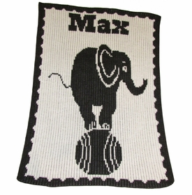 personalised elephant on ball blanket