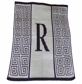 personalised initial scroll blanket