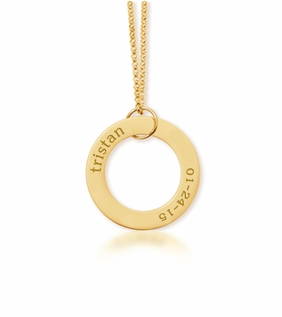 personalized 1 Name & Birthday 14K Yellow Gold Open Loop
