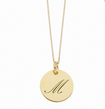 personalized 1 tag initial script necklace 14k yellow gold