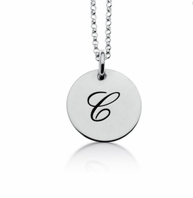 personalized 1 tag script initial necklace sterling silver