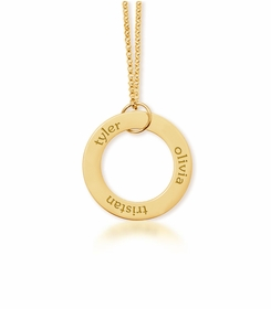 personalized 3 Name 14K Yellow Gold Open Loop