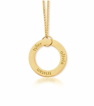 personalized 3 Name 24K Gold Plated Open Loop