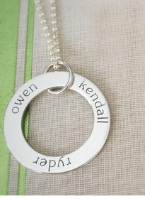 personalized 3 name sterling silver loop