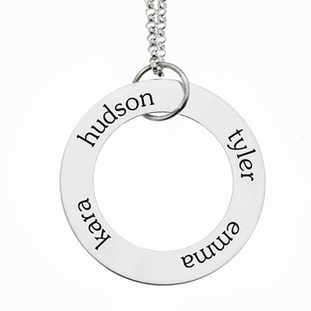 personalized 4 Name Sterling Silver Open Loop