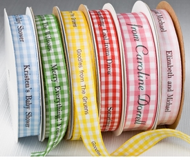 "personalized 5/8"" gingham ribbon"