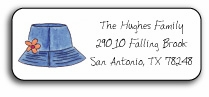 personalized address labels � beach hat