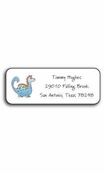personalized address labels blue dinosaur