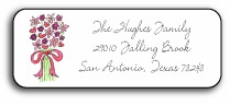 personalized address labels � bouquet in pink