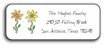 personalized address labels � row of daisies