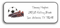 personalized address labels � soccer stud