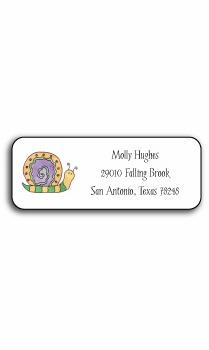 personalized address labels – swirly snail