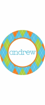 personalized argyle boy plate (style 2p)