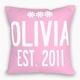 personalized baby announcement flowers pillow