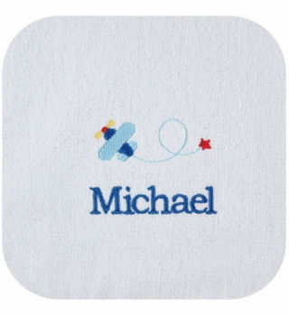 personalized baby bib and burp cloth - airplanes