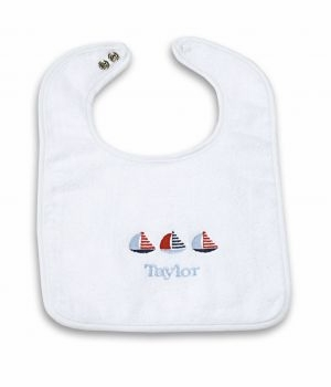 personalized baby bib - sailboats