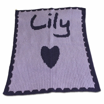personalized baby blanket with name and heart and scalloped edge