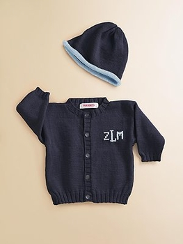 personalized baby cardigan sweater and hat set
