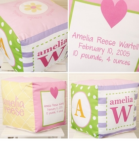 personalized baby girl block (bright) - unavailable