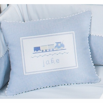 personalized baby pillow - trains