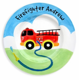 personalized baby plate - fire truck