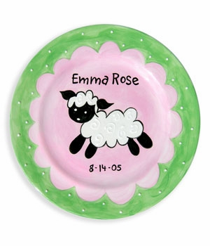 personalized baby plate - lamb