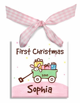 personalized baby's first christmas wagon ornament (girl)