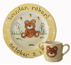 personalized bear baby plate