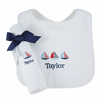 personalized bib and burp cloth - sailboats